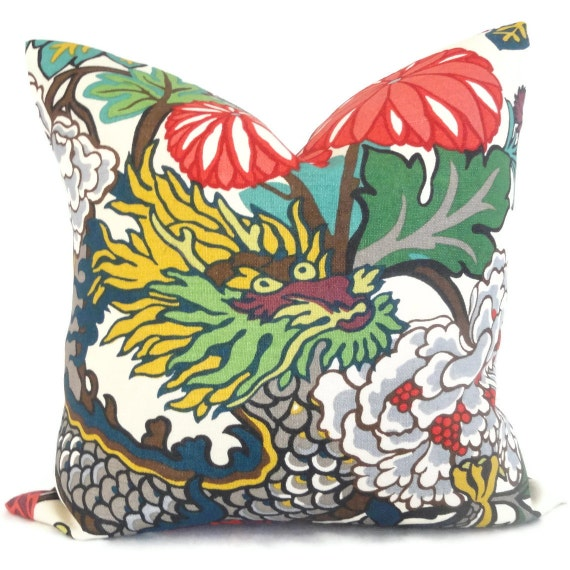Pair of Schumacher Alabaster Chiang Mai Dragon Decorative Pillow Covers 18x18, 20x20 or 22x22, Toss Pillow, Accent Pillow, Throw Pillows