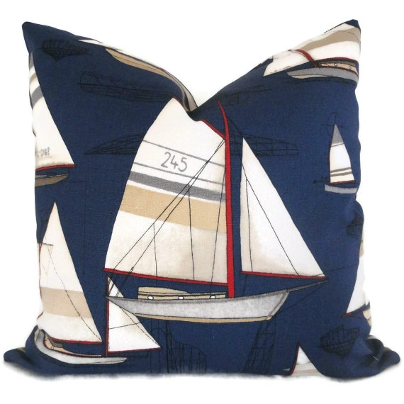 Blue Sailboat  Decorative Pillow Cover Square, Eurosham and Lumbar pillow. Duralee, 18x18, 20x20, 22x22 Eurosham, or Lumbar pillow, Cushion