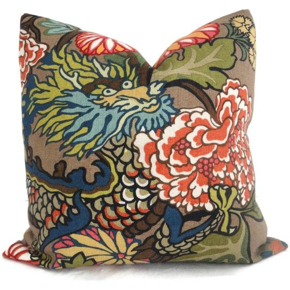 Pair of Mocha Schumacher Chiang Mai Dragon Decorative Pillow Covers, Accent Pillow, Designer Pillow, Throw Pillow