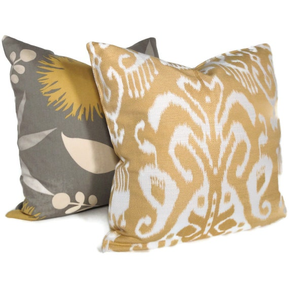 Yellow and White Damask Pillow Cover 18x18