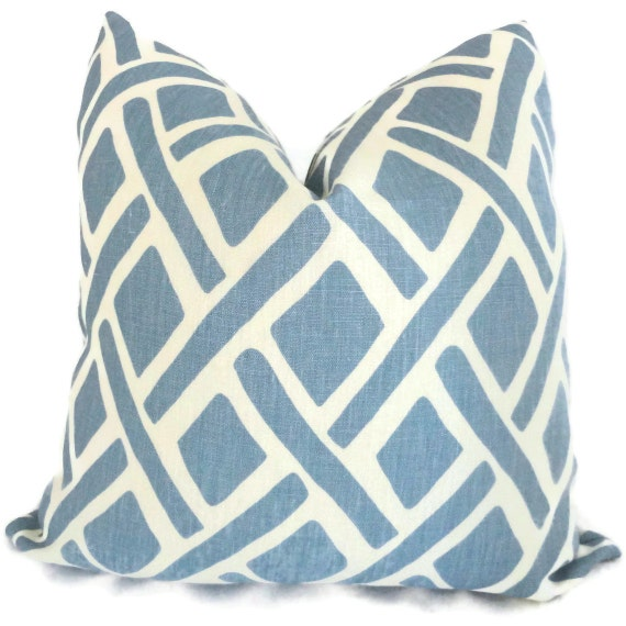Blue Trellis Decorative Pillow Cover Kravet  18x18, 20x20, 22x22 or lumbar Eurosham, pillow case, pillow cushion, accent pillow