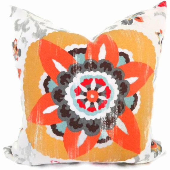 Orange Suzani Indoor Outdoor Decorative Pillow Cover, Square, Eurosham or lumbar pillow cover