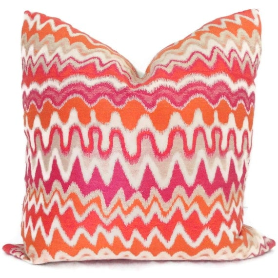 Kravet Couture Orange and Pink Zig Zag Decorative Pillow Cover 18x18, 20x20, 22x22, 24x24, Euro sham, Lumbar Throw Pillow, Accent Pillow