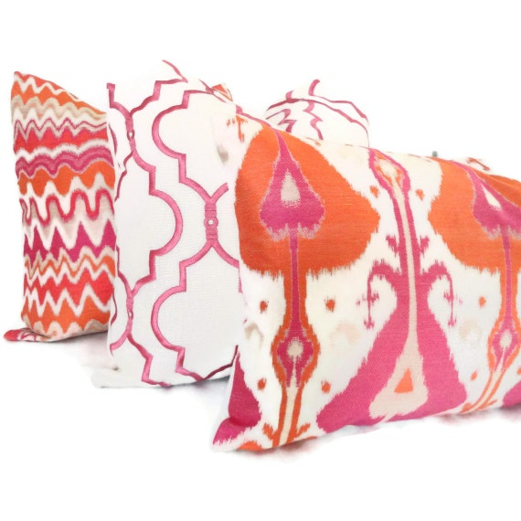 Decorative Throw Pillows Etsy : Orange and Pink Ikat Decorative Pillow Cover 18x18 20x20