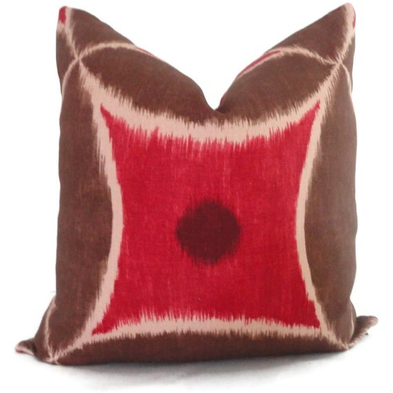 Brown and Red Duralee Ikat Pillow Cover