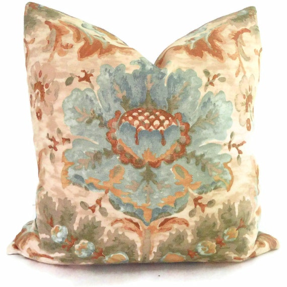 Brunschwig and Fils Blue and Camel Damask Decorative Pillow Cover 18x18, 20x20, 22x22