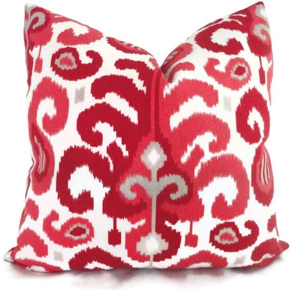 Duralee Raspberry Ikat Decorative Pillow Cover Lumbar Pillow, Accent pillow, Throw Pillow