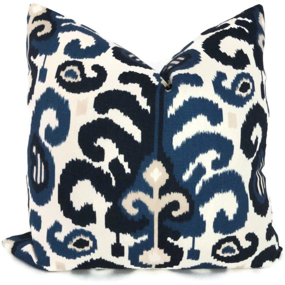 Duralee Blue Ikat Decorative Pillow Cover Lumbar Pillow Accent Pillow, Throw Pillow, Pillow Cover