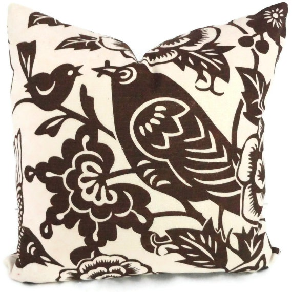 Duralee Brown Aviary  Decorative Pillow Cover 18x18, 20x20 or 22x22