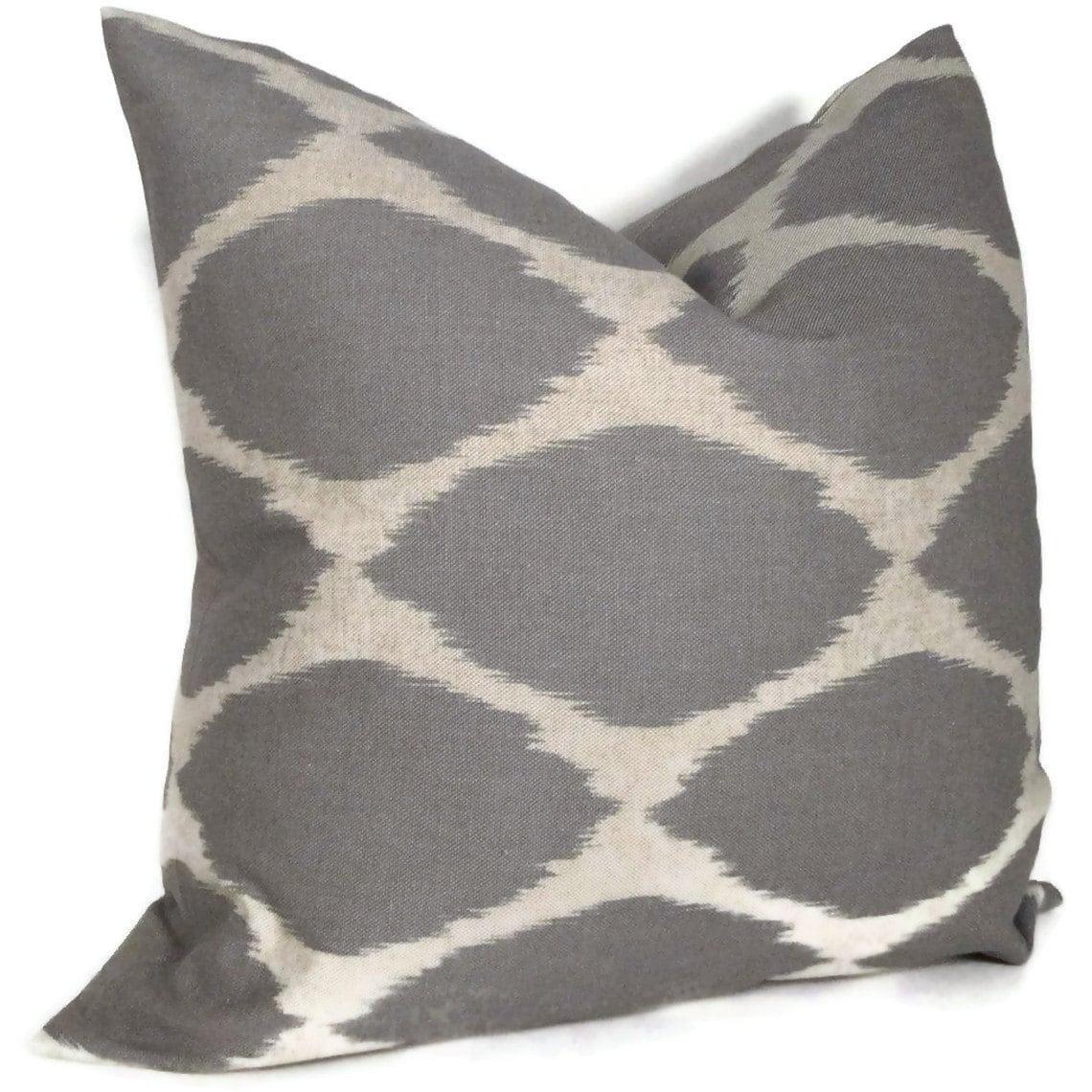 West Elm Gray Ikat Decorative Pillow Cover Lumbar Pillow