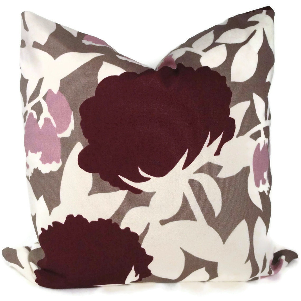 Lilac Floral Throw Pillow : SALE Duralee Plum and Lilac Floral Decorative Pillow by PopOColor