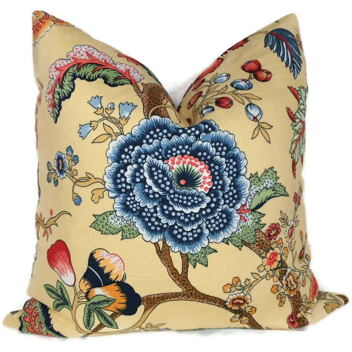 Decorative Pillows Flowers : Duralee Yellow and Blue Jacobean Floral Decorative Pillow