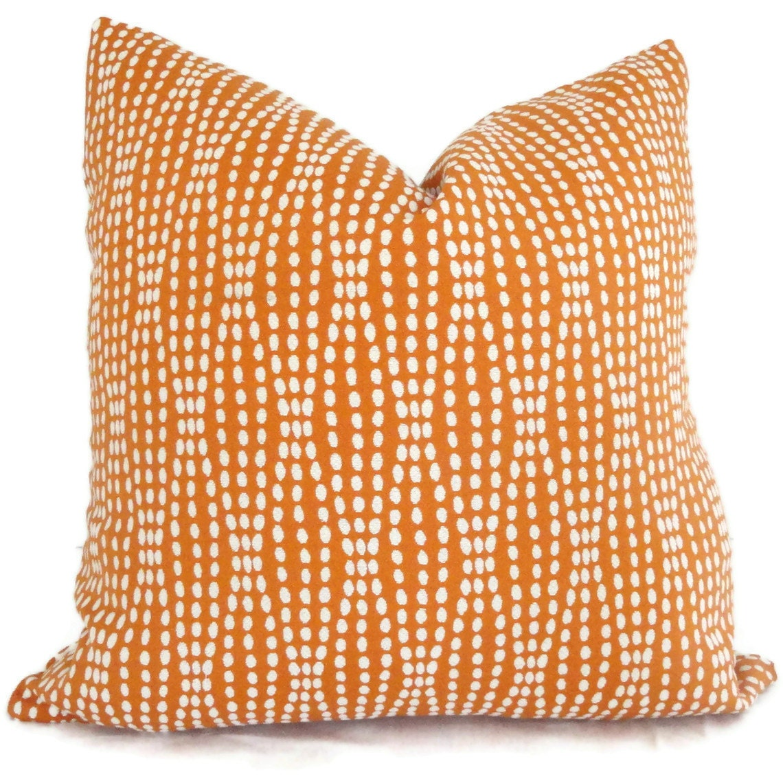 Decorative Pillows And Throws : Pillow Cover Orange and White Reversible Dot Decorative