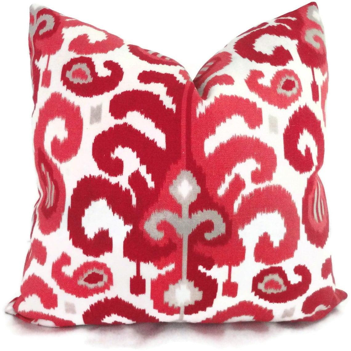 Duralee Raspberry Ikat Decorative Pillow Cover Lumbar Pillow
