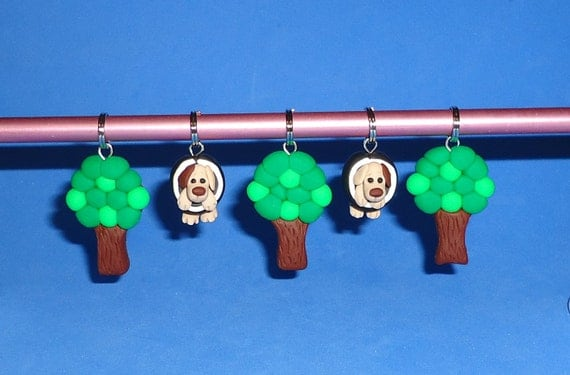 Polymer Clay Dog in Tire Swing with Tree Stitch Markers