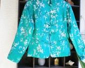 Asian Flower Bamboo Jacquard Satin Green Jacket (Medium)