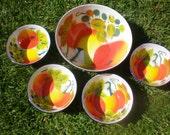 Enamel Bowl 5 Piece Set Tomato Fruit Bright Cottage Chic