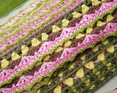Crochet Trim Multi Colored Pink Green Brown Yellow- 6 Yards