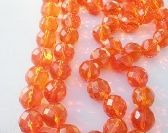 Vintage Orange Necklace Long Beaded Crystal
