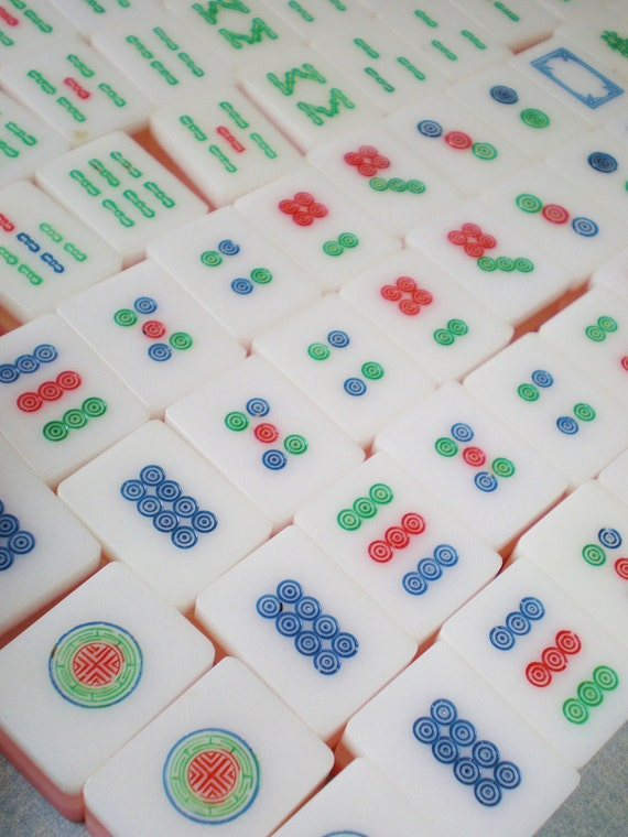 Vintage Pink Mah Jong Tiles Set of 10