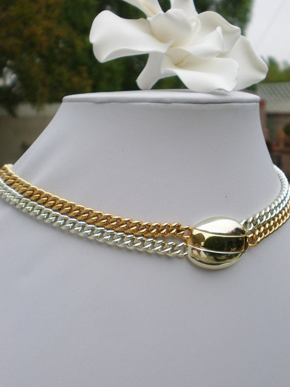 Vintage Monet Necklace Gold Silver Jewelry