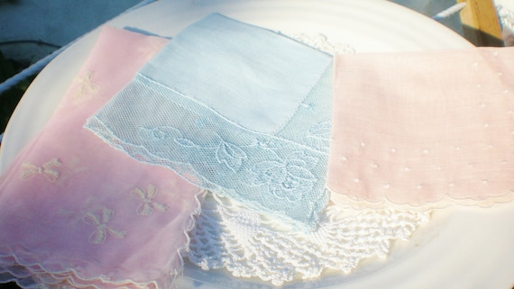 Vintage Hankie Lot Pink Blue Lace Dot Bow