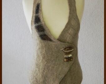 SOLD Nuno felted vest  felt vest  warm natur colour Eco style