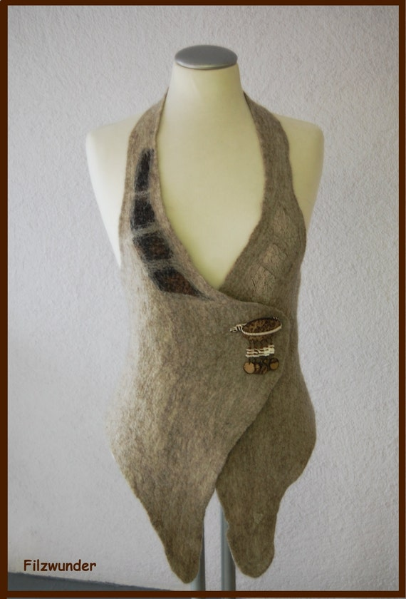 SOLD Nuno felted vest  felt vest  warm natur colour Eco style