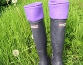 SLUGS Fleece Rain Boot Liners in Solid Purple, Fleece Socks, Festival Picnic Style, Boot Insert (Med/Lg 9-11 Boot)