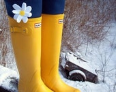 Boot Cuffs SLUGS Fleece Snow Rain Boot Liners in Navy with a Daisy on the Cuff, Winter Fashion, Tall Boot Socks, Boot Inserts (Med/Lg  9-11)