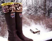 SLUGS Fleece Rain Snow Boot Liners with a Floral Cuff, Rainy Day Fashion, Tall Boot Sock, Boot Cuff, Boot Insert  (Sm/Med 6-8 Boot)
