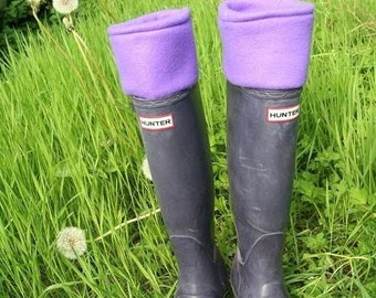 SLUGS Fleece Rain Boot Liners in Solid Purple, Fleece Socks, Rainy Day Style, Boho Spring Summer Festival Picnic Fashion (Sm/Med 6-8 Boot)