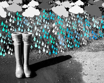 Fleece Rain Boot Wellington Liners SLUGS Turquoise with a Tie-Dye Cuff, Spring Summer Rainy Day Style, Tall Boot Socks,  (SM/MED 6-8 Boot)