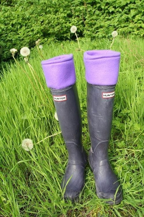 SLUGS Fleece Rain Boot Liners in Solid Purple, Fleece Socks, Festival Picnic Style, Boot Insert (Med/Lg 9-11 Boot)