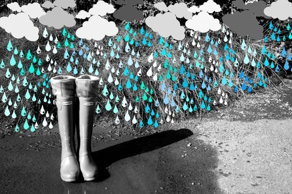 Fleece Rain Boot Wellington Liners SLUGS in Turquoise with a Tie-Dye Cuff, Fall Winter Accessory, Rainy Day Style (Med/Lg 9-11 Boot)