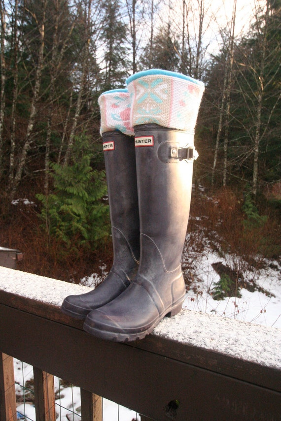 SLUGS Fleece Rain Boot Liners Turquoise with  Upcycled Sweater Cuff, Winter Fashion, Gift for Her (Sm/Med and Med/Lg).