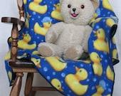 Yellow Ducky Soft Fleece Baby Blanket - Dark Blue Baby Blanket with Yellow Ducks - Single Layer Fleece Blanket - Baby Boy Fleece Blanket
