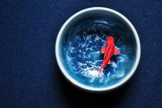 Koi tea bowl wave by mochiliu on etsy for Koi viewing bowl