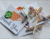 Thank You Tea Cup Tags with Paper Flowers and Pearls in Razzleberry, Green, Yellow and Orange - Set of 4 -
