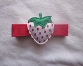 White with Red Strawberry on a Fully Lined Infant or Toddler Alligator Clip with Red Grosgrain Ribbon - One Strawberry Hair Clip