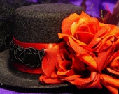 Lolita Burlesque Mini Top Hat with Red Roses, Feathers, and Black Veil