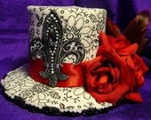 Victorian Steampunk Gothic Burlesque Mini Top Hat with Red Roses, Feathers, and Black Veil