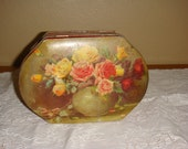English Toffee Tin Box with Roses Collectible Riley's Toffee