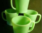 Four Vintage FIRE KING JADEITE D-Handle Mugs