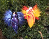 Set of 2 needle Felted Wool fairies: DAY & NIGHT, Waldorf inspired fairy doll