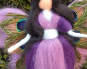 Needle Felted Wool fairy with peacock feathers, Waldorf inspired fairy doll