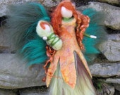 DEIRDR with baby - Needle Felted Wool  fairy, Irish nature fairy, Waldorf inspired fairy doll, wool