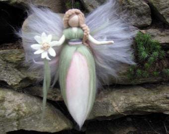 ADELE Needle Felted Wool fairy, Flower fairy, Waldorf inspired fairy doll, wool, Edelweiss