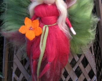 orange Flower - Needle Felted Wool fairy, Flower fairy, Waldorf inspired fairy doll, wool