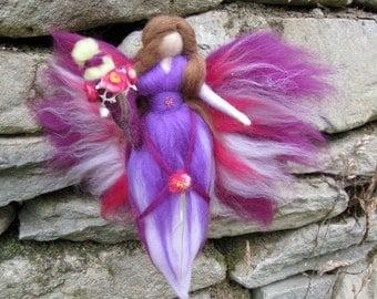 Birthday fairy, school-start LEAH Waldorf doll, Wool fairy ooak